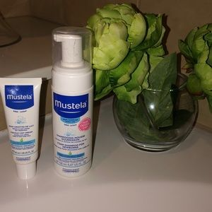 Cradle cap mustela shampoo and cream.